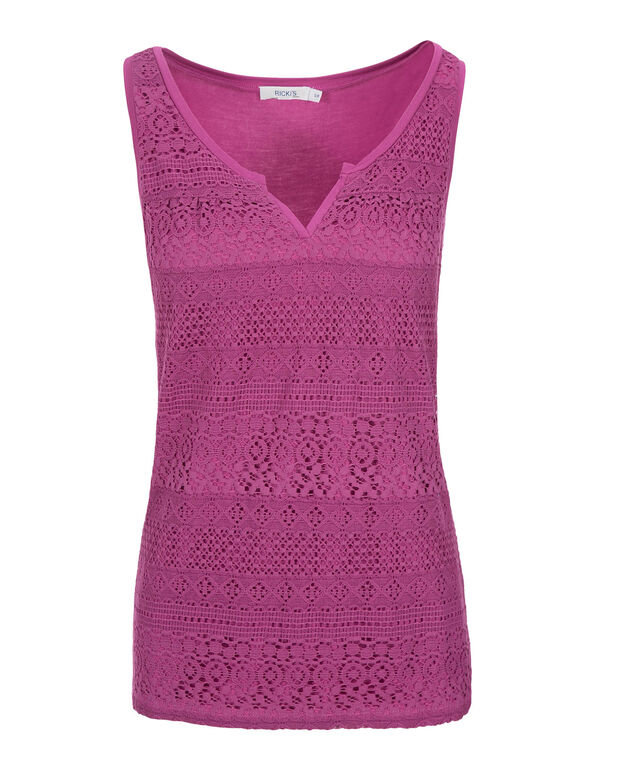 Crochet Notch Neck Tank, Mid Violet, hi-res