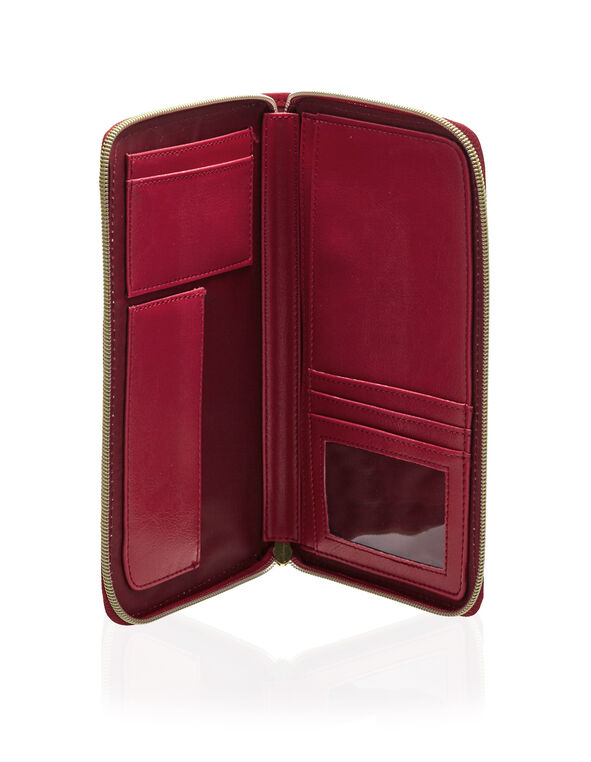 Red Print Organizer Wallet, Red, hi-res