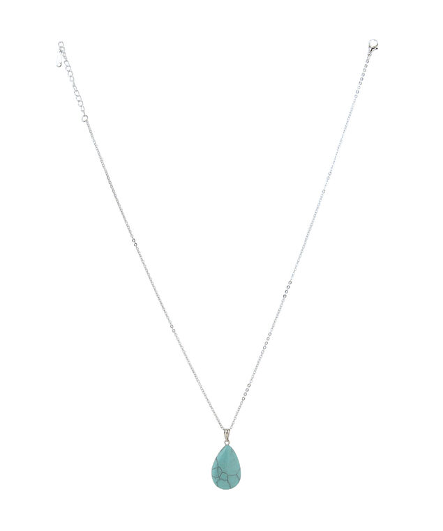 silver chain with turquoise pendant, SILVER, hi-res