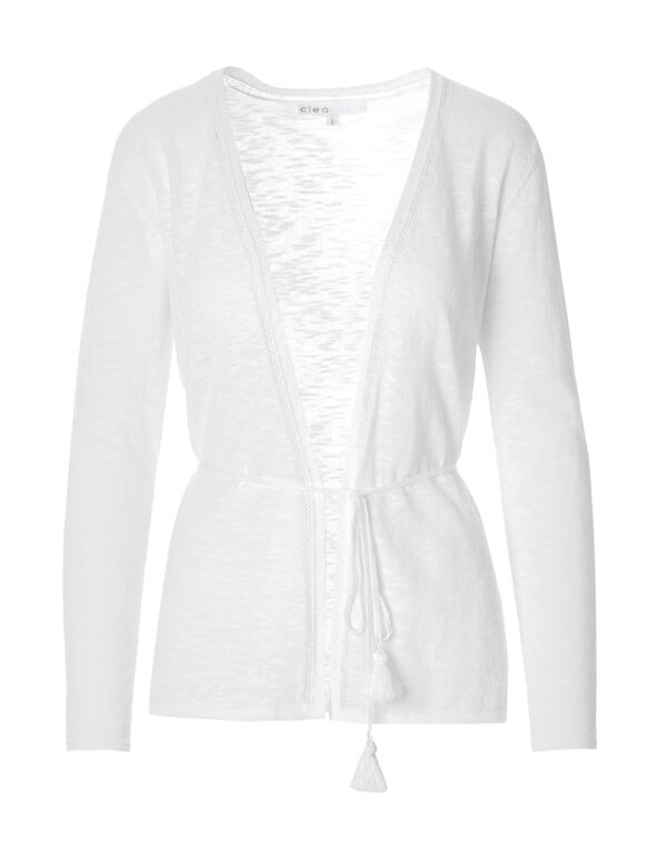 White Tassel Tie Cardigan, White, hi-res