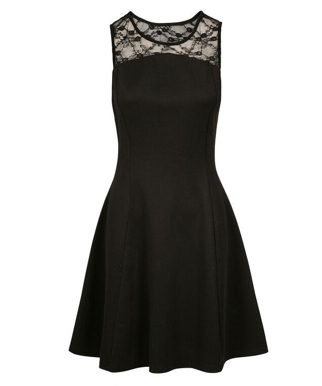 Lace Scuba Dress, Black, hi-res