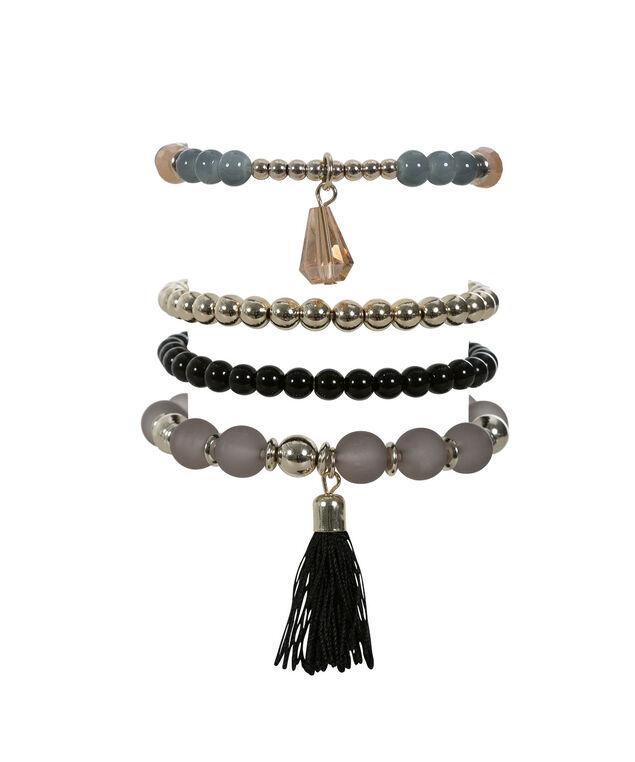 Stretch Bracelet Set, Grey/Blue/Soft Gold, hi-res