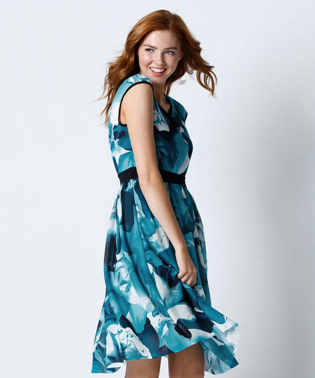 Mesh Floral Print Dress, Teal Print, hi-res