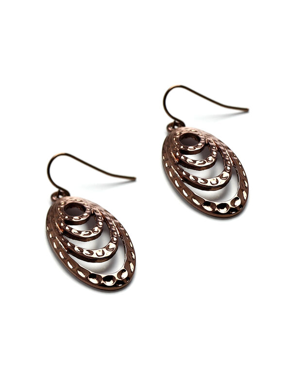 Chocolate Textured Oval Drop Earring, Chocolate, hi-res