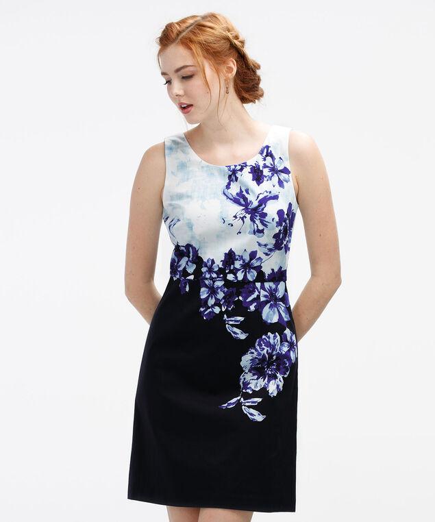 Floral Placement Print Dress, White/Blue Print, hi-res