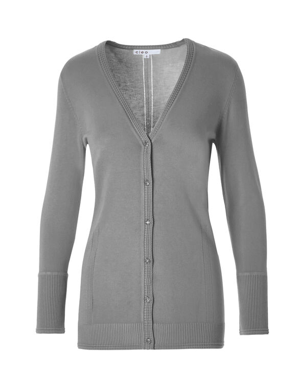 Grey Cardigan Sweater, Grey, hi-res