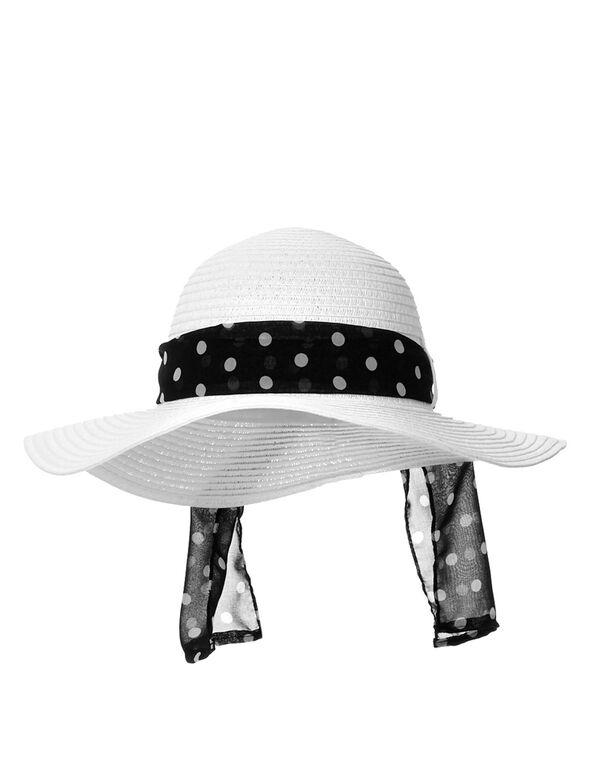 Polka Dot Scarf Floppy Hat, White/Black, hi-res