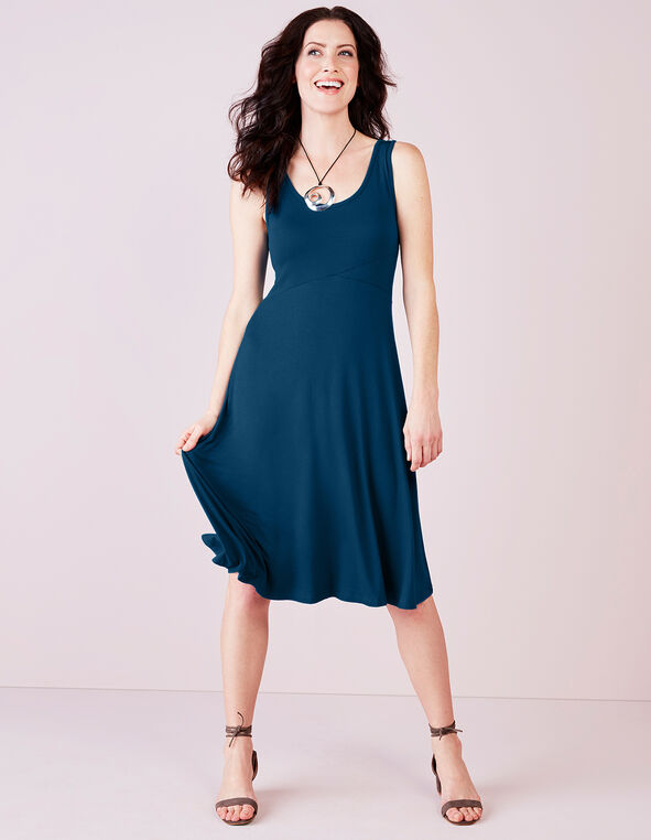 Turquoise Eyelet A-Line Dress, Dark Turquoise, hi-res