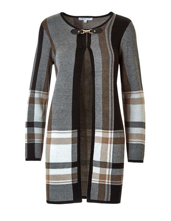 Plaid Long Open Cardigan, Black/Ivory/Nude, hi-res