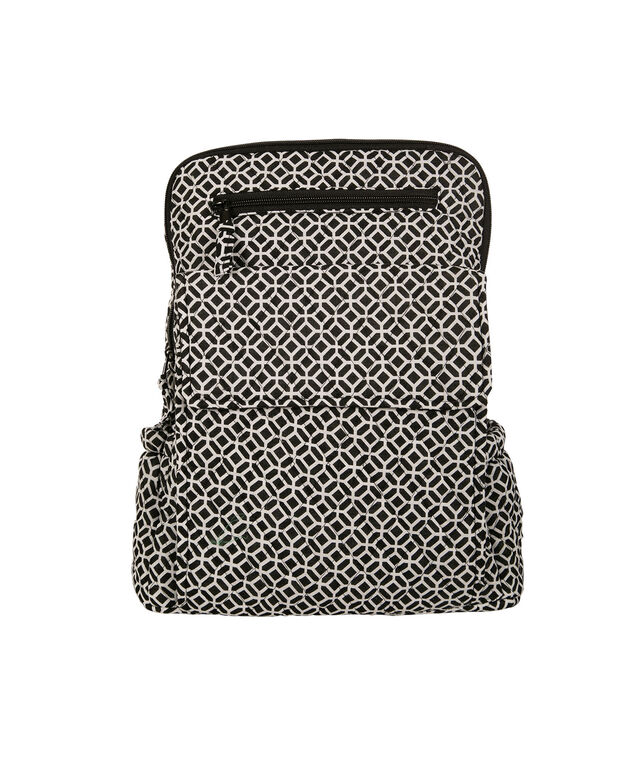 Quilted Medallion Backpack, White/Black, hi-res