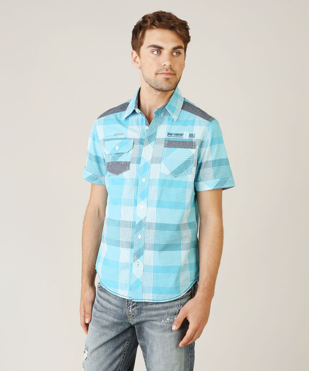 plaid shirt with contrast panels - wb, TURQUOISE, hi-res