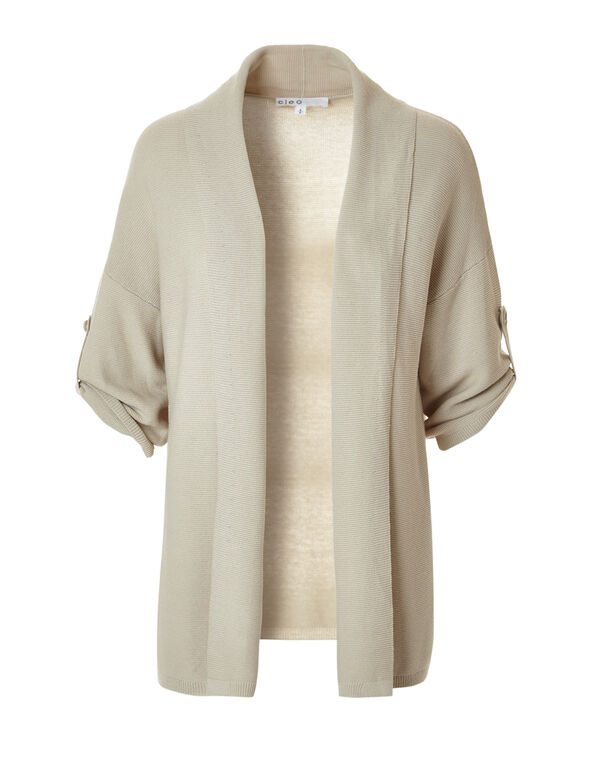 Latte Roll Up Cardigan Sweater, Latte, hi-res