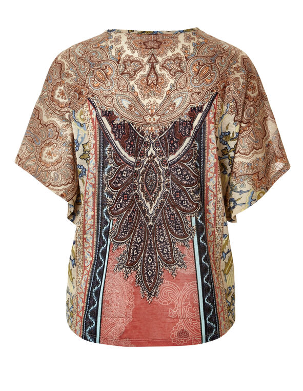 Peach Paisley Print Caftan, Peach/Navy/Washed Blue/Stone, hi-res