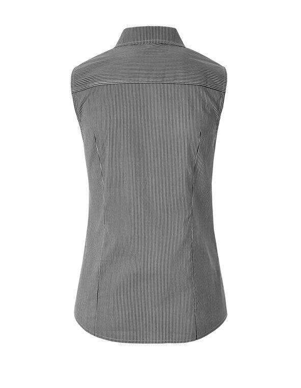 Collared Printed Blouse, Black/White, hi-res