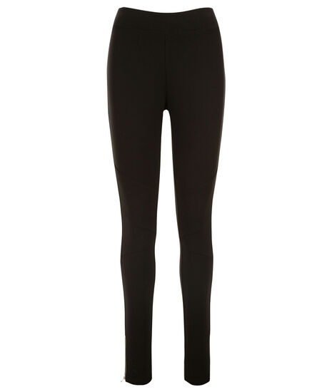 Luxe Ponte Seam Zipper Legging, Black, hi-res