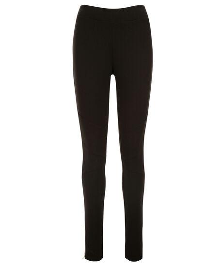 Luxe Ponte Seam Zipper Legging, Black, hi-res