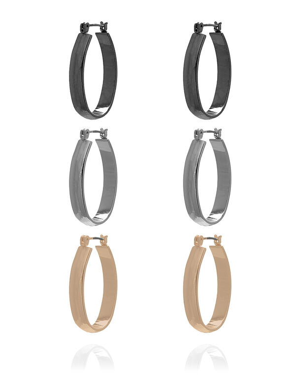 Oval Hoop Trio Earring Set, Silver/Rose Gold/Hematite, hi-res