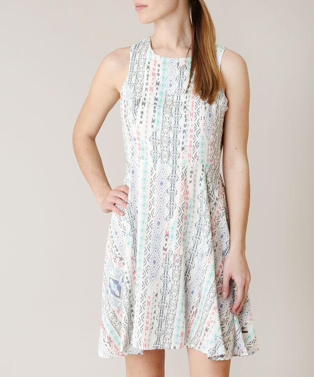 bohemian print skater dress, WHITE PTN, hi-res