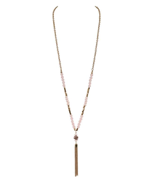 Bead Tassel Pendant Necklace, Misty Pink/Antique Gold, hi-res
