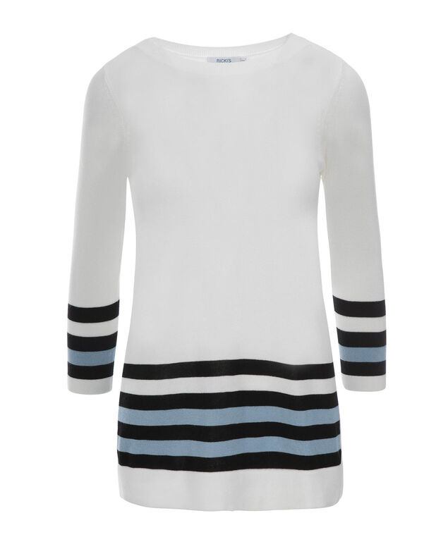 3/4 Sleeve Stripe Pullover, Milkshake/Black/Misty Blue, hi-res