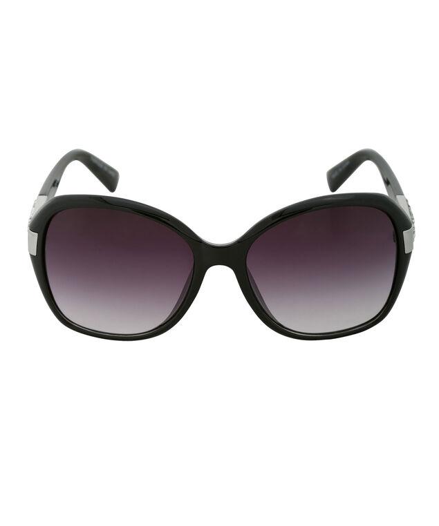 Temple Crystal Sunglasses, Black/Silver, hi-res