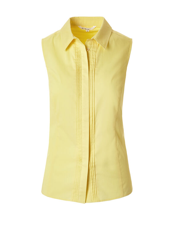 Yellow Collared Button Blouse, Yellow, hi-res