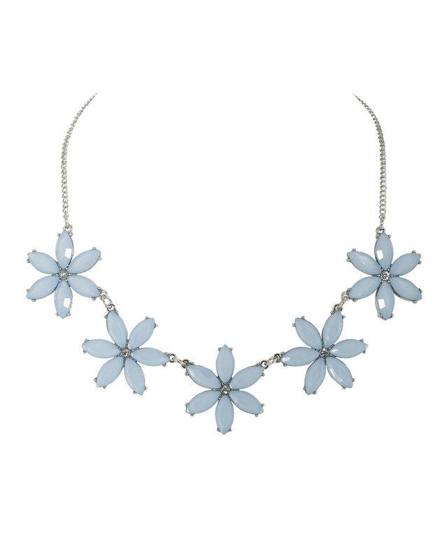 Blue Floral Statement Necklace, Light Blue/Rhodium, hi-res