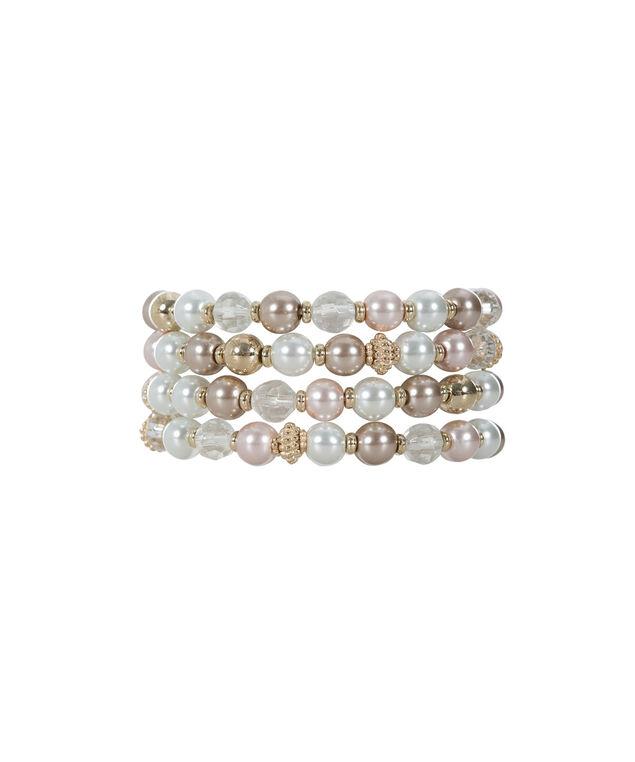Bead & Pearl Bracelet Set, Pink/White, hi-res