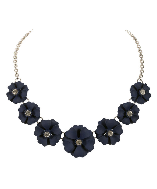 Floral Mini Statement Necklace, Navy/Rhodium, hi-res