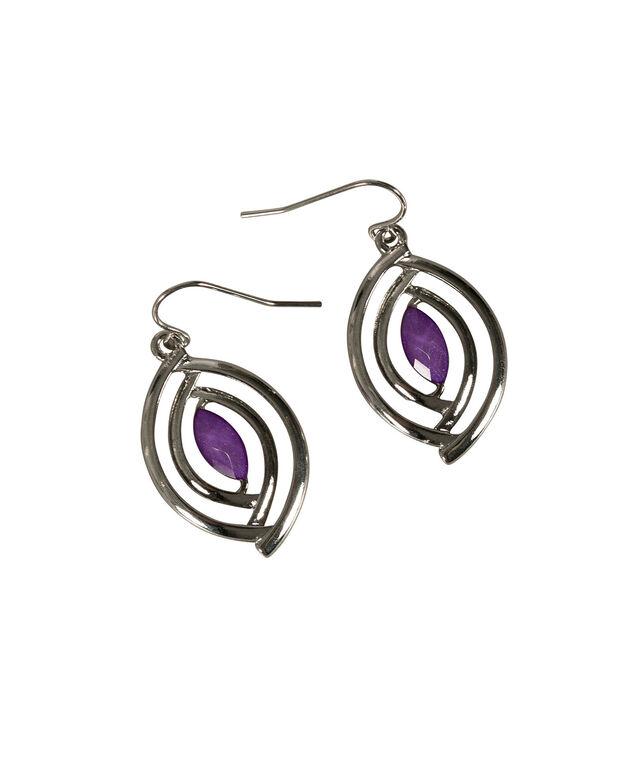Glitter Stone Earring, Purple/Rhodium, hi-res