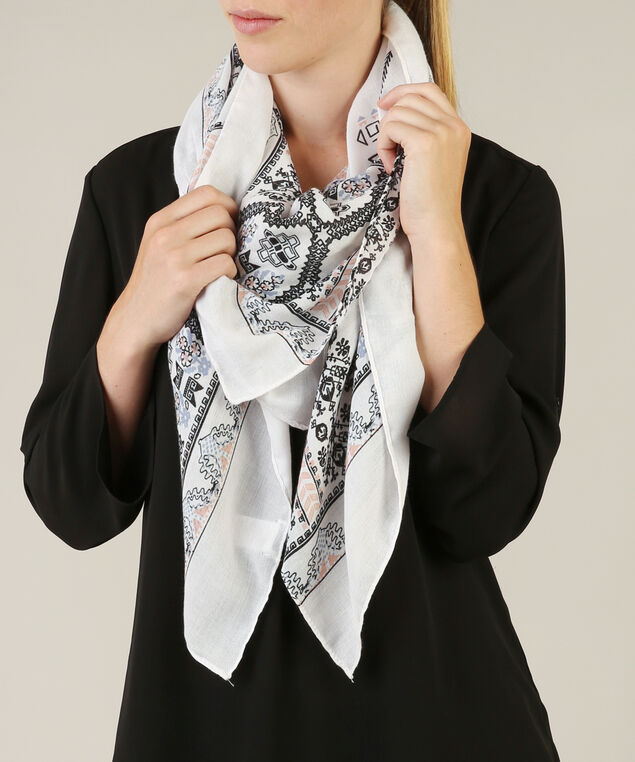 geo paisley print scarf, CREAM/PINK, hi-res