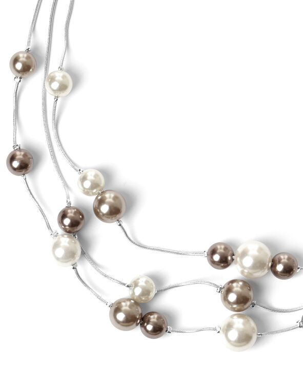 Mixed Pearl Necklace, Silver/Nude/Ivory, hi-res