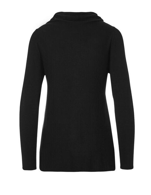Black Cowl Wrap Sweater, Black, hi-res