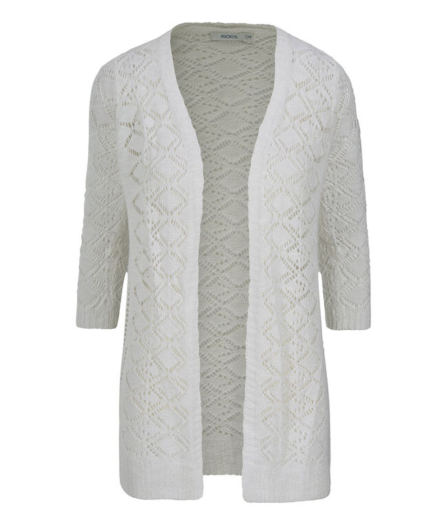 3/4 Sleeve Crochet Cardi, True White, hi-res