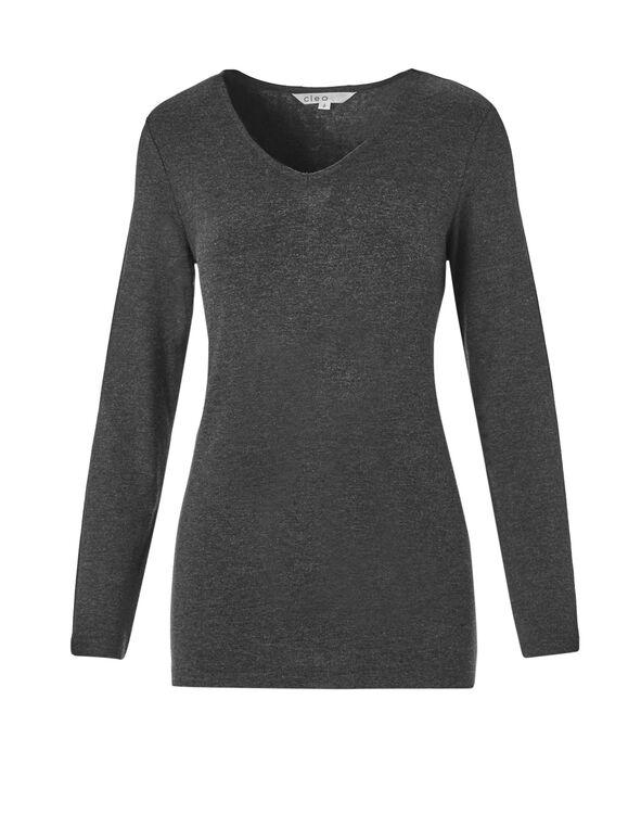 Grey Long Sleeve V-Neck Top, Grey, hi-res