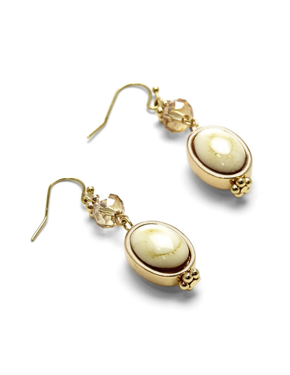 Oval Drop Earring, Gold/Ivory, hi-res