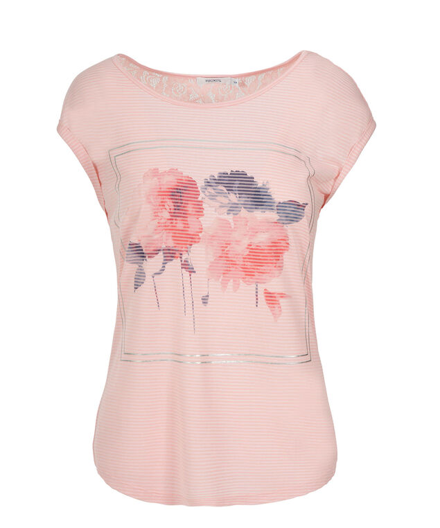 Coral Stripe Lace Top, Coral Print, hi-res