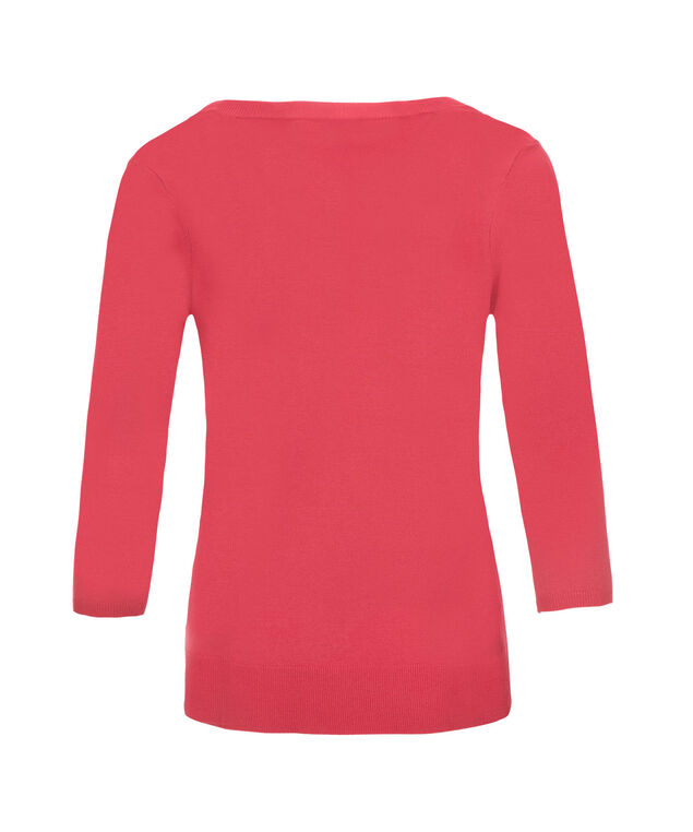 Button Front Rib Cardi, Coral, hi-res