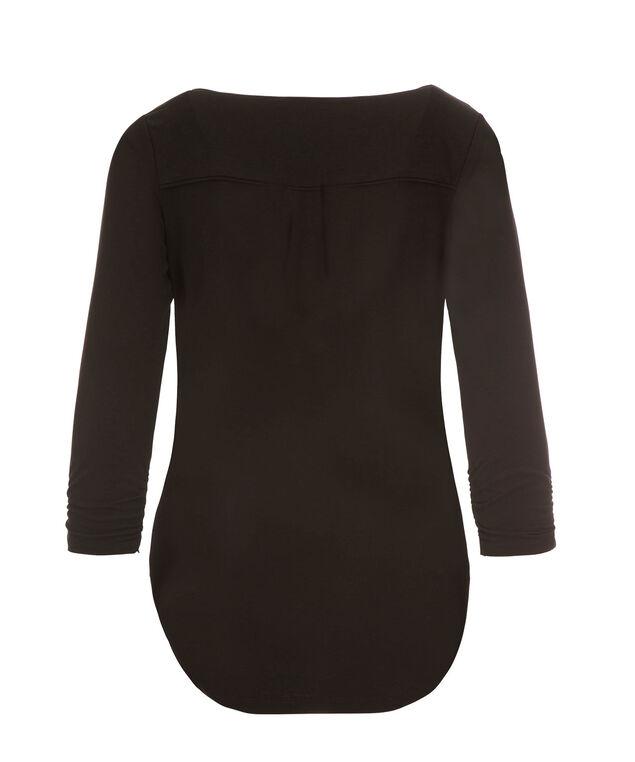 3/4 Sleeve Button V-neck, Black, hi-res