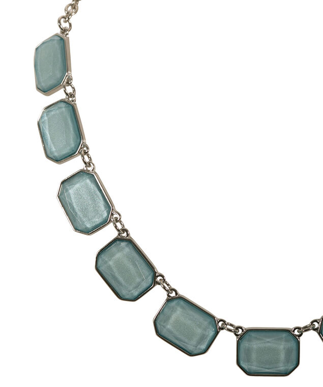 Glitter Stone Mini Statement Necklace, Mint/Rhodium, hi-res