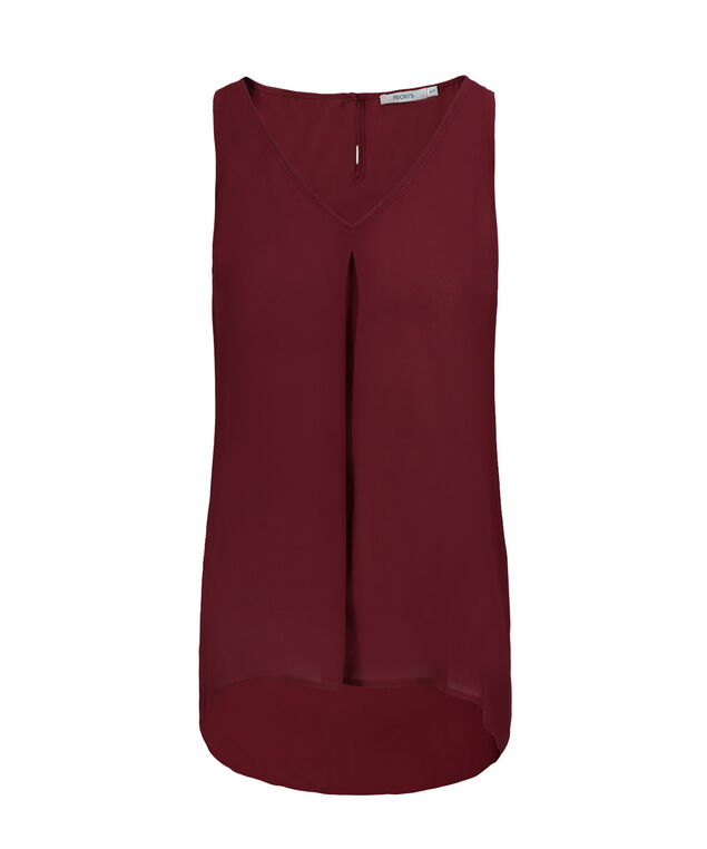 Pleat Front Blouse Tank, Cranberry, hi-res