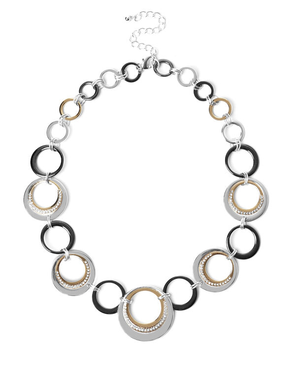 3 Tone Circle Necklace, Silver/Gold/Hematite, hi-res