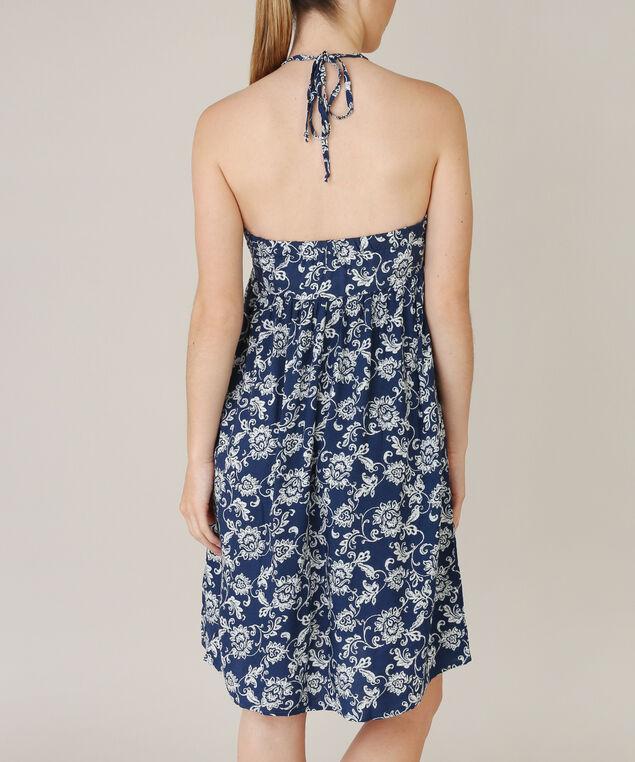 tie front dress, NAVY PRINT, hi-res