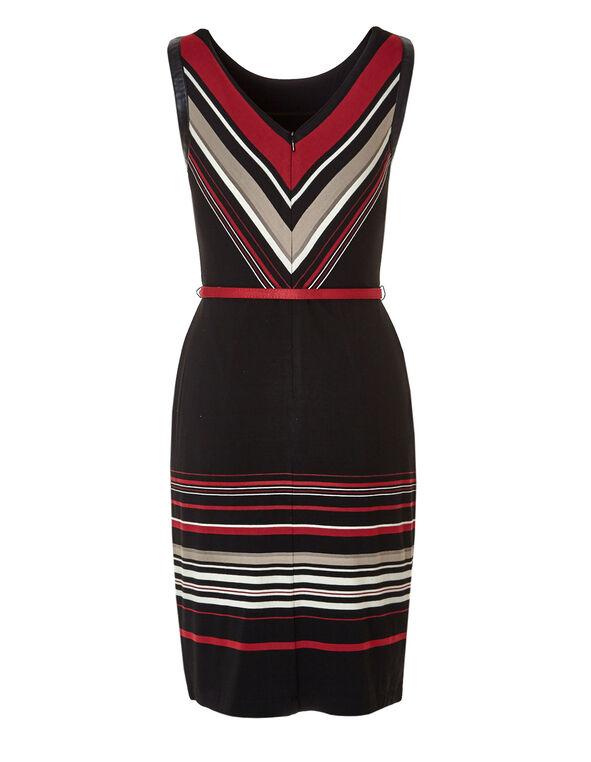 Multi Striped Belted Shift Dress, Black/Red/Biscuit, hi-res