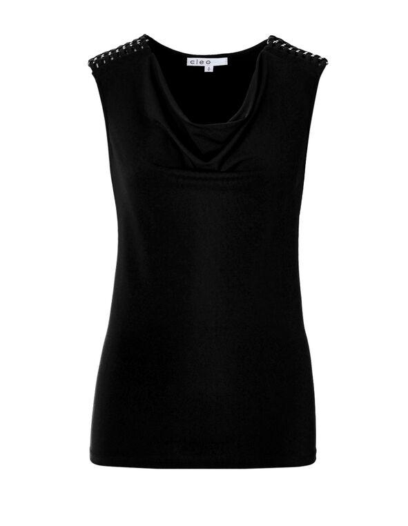 Black Cowl Neck Top, Black, hi-res
