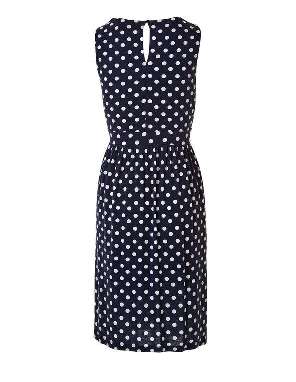 Navy Polka Dot Fit and Flare Dress, Navy/White, hi-res
