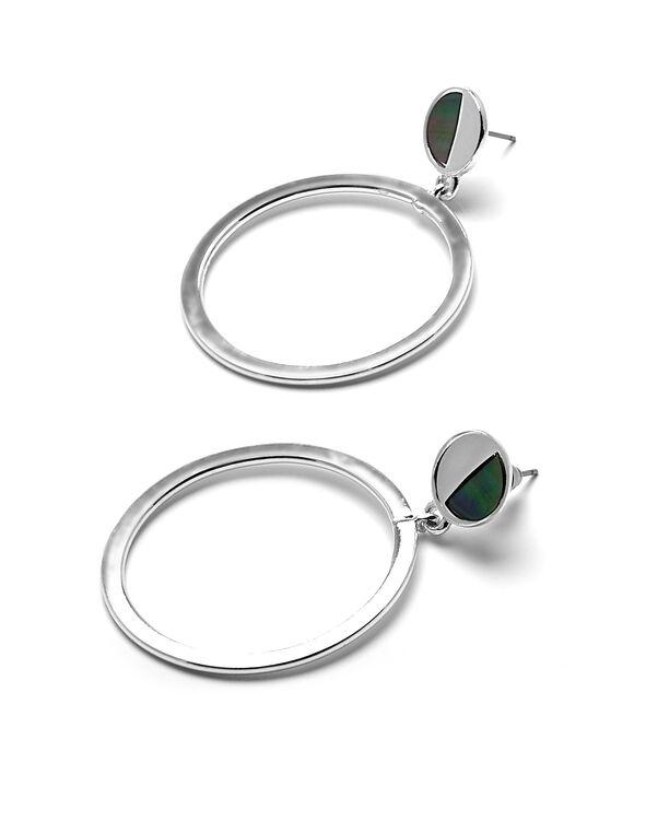 Silver Circle Hoop Earring, Silver, hi-res