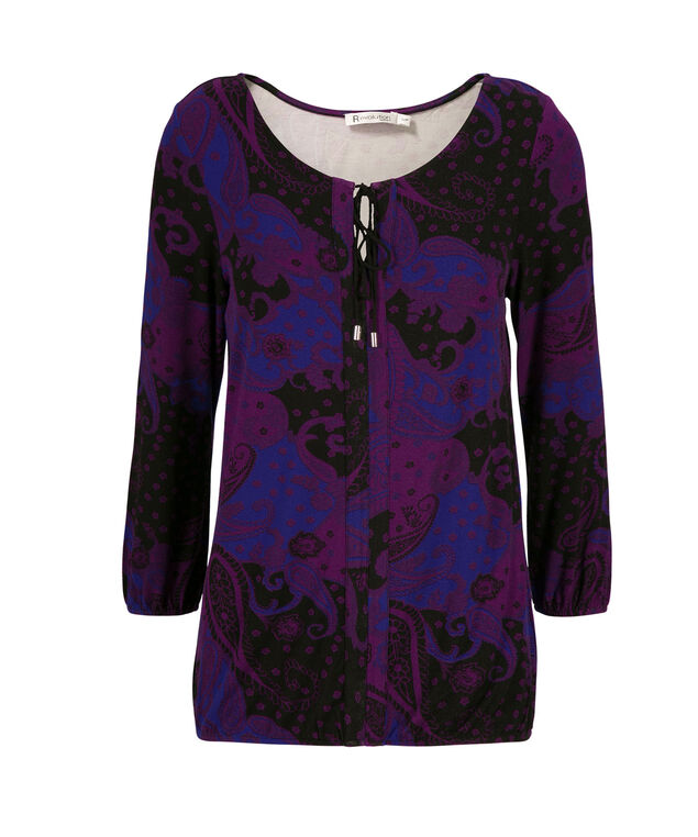 3/4 Sleeve Peasant Blouse, Purple Print, hi-res