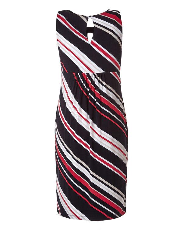 Striped A-Line Dress, Black/White/Red, hi-res