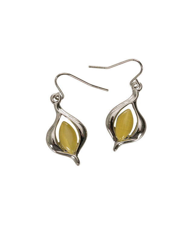 Oval Cateye Earring, Yellow/Rhodium, hi-res